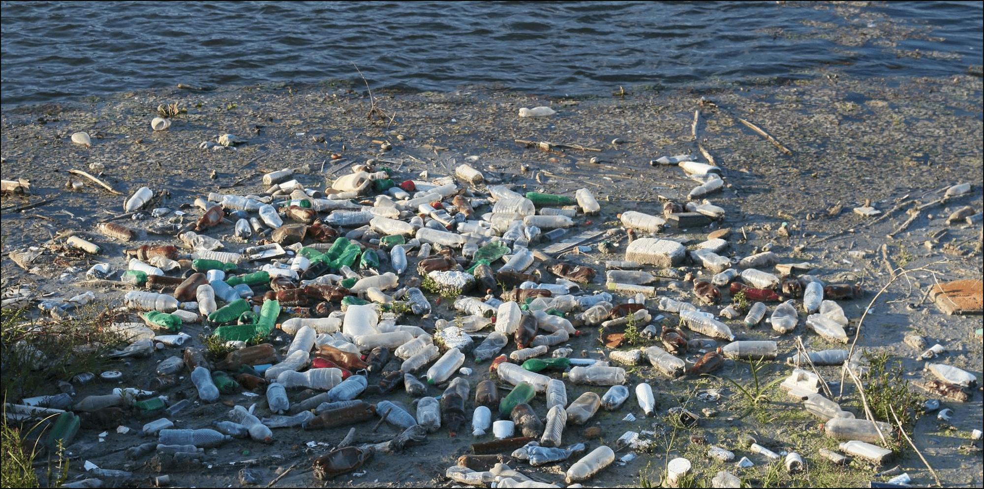 Pet Flaschen Plastik am Strand Abfall Recycling