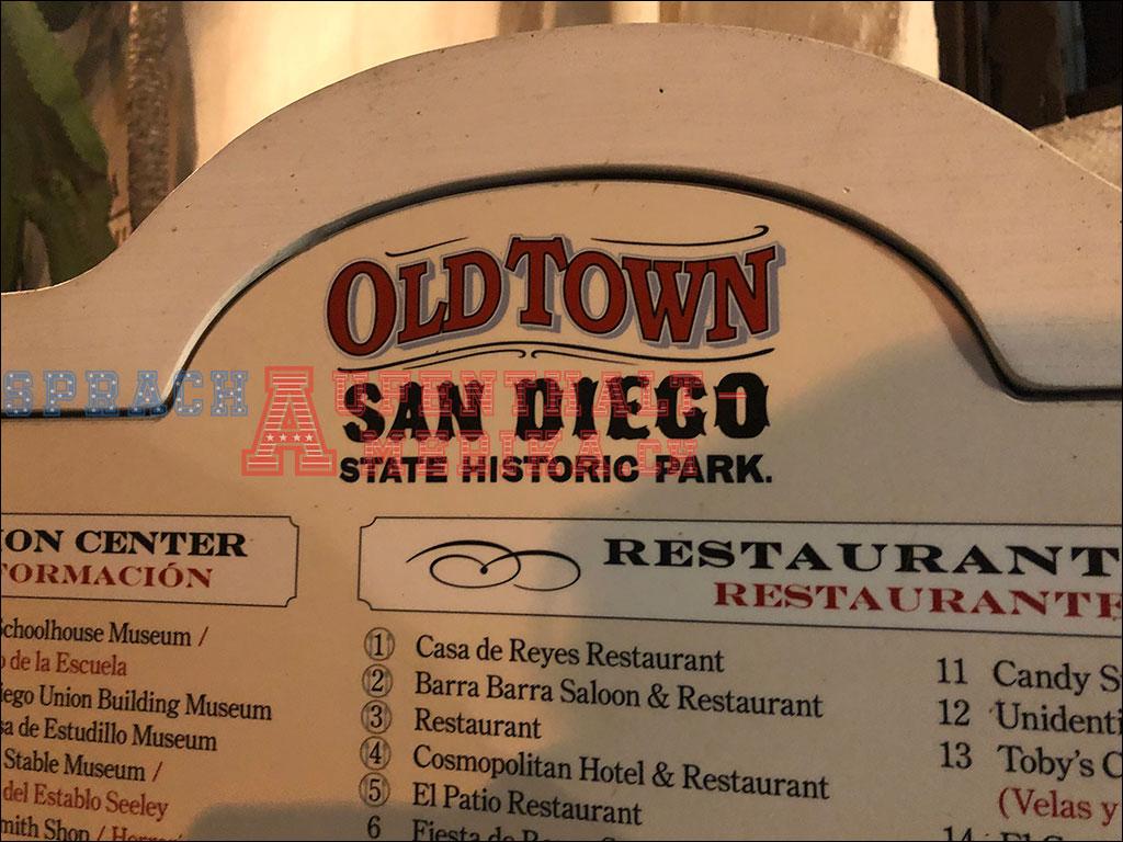 San Diego Old Town Schild
