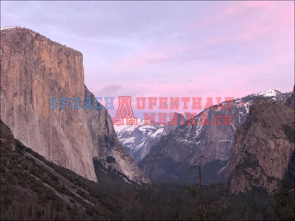 Tunnel View im Yosemite bei Abendröte